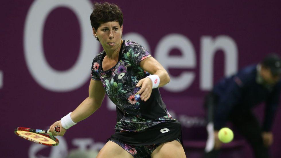 Carla Suárez, durante el duelo ante Radwanska.