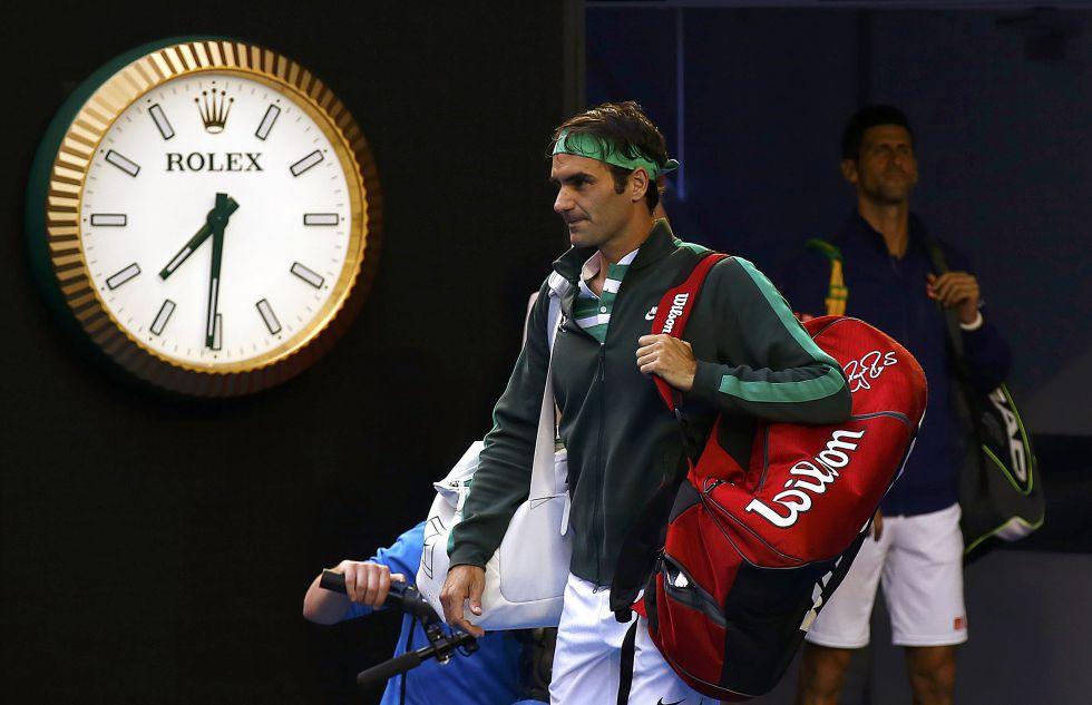 Federer y Djokovic, antes de la semifinal de Australia.