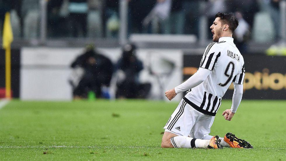 Morata celebra un gol con la Juventus.