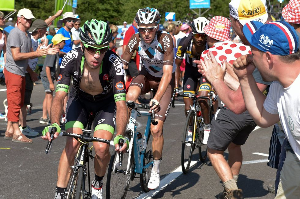 Sepúlveda ante Bardet y Teklehaimanot, en la etapa de Cauterets del pasado Tour.