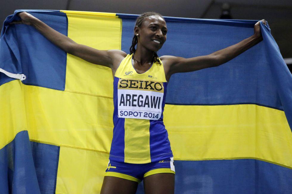 Aregawi, tras ganar los 1.500m del Mundial en pista cubierta de 2014.