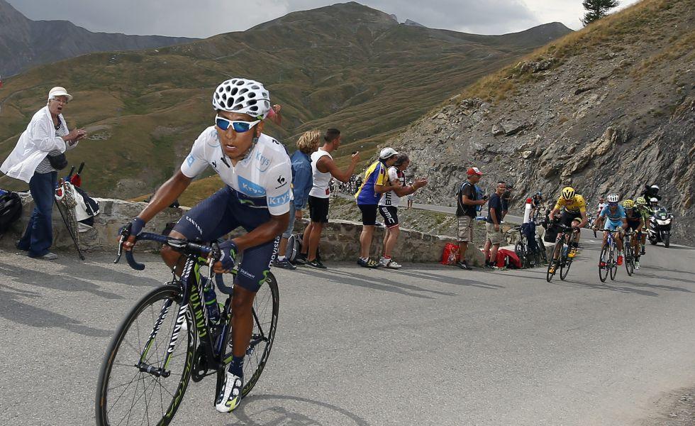 Nairo ataca en el col de Allos, durante el pasado Tour.