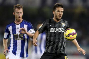 Ignacio Camacho, a la derecha, jugando con el Málaga esta temporada