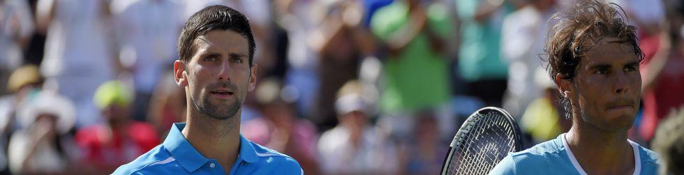 Djokovic y Nadal, a la conclusión del partido en Indian Wells.