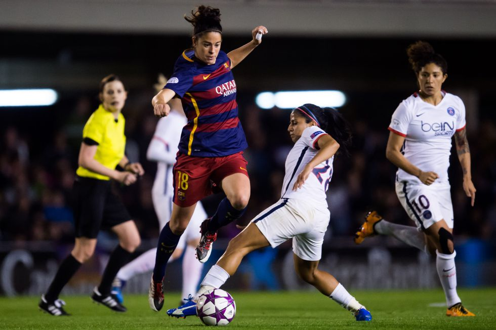 Marta Torrejón, en el partido de cuartos de final de la Champions contra el PSG.