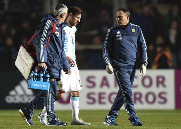 Messi recibe un golpe antes de la Copa América