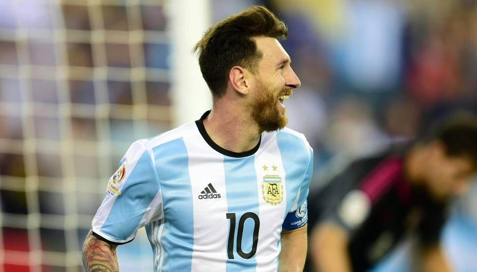 Messi celebra su gol 54 con Argentina.