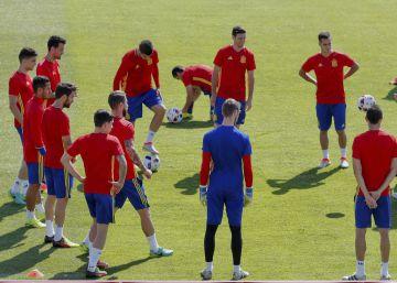 Entrenamiento de la selección española.