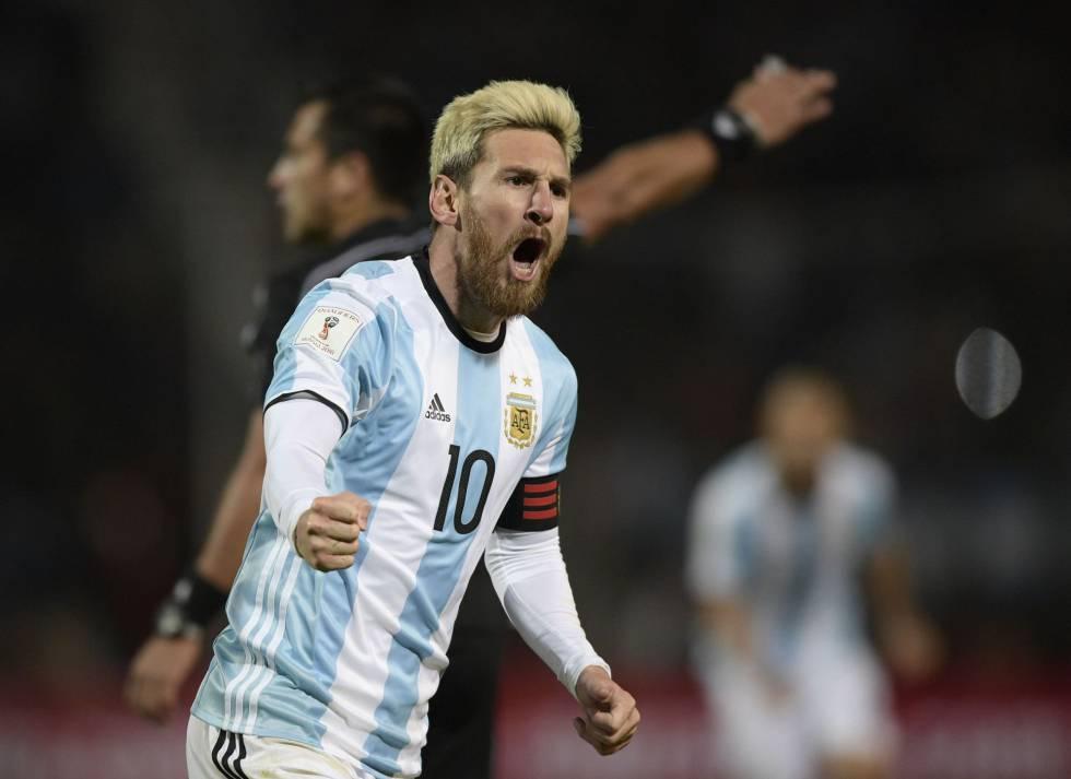 Lionel Messi celebra su gol ante Uruguay.