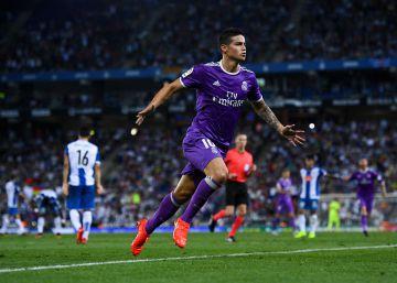 El Real Madrid gana al Espanyol con goles de James y Benzema