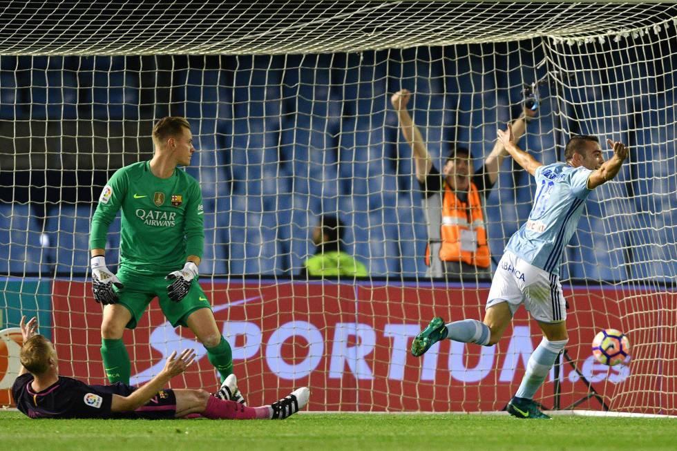 Iago Aspas celebra el gol ante la impotencia de Ter Stegen.
