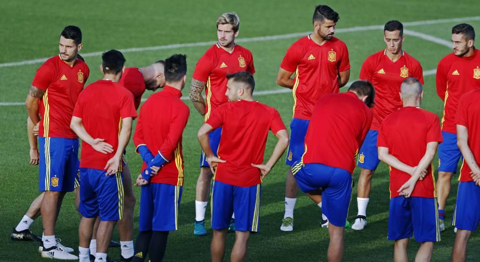 Los jugadores de España, el lunes en Las Rozas.