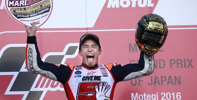 Marc Márquez celebra en Japón su tercer título de MotoGP.