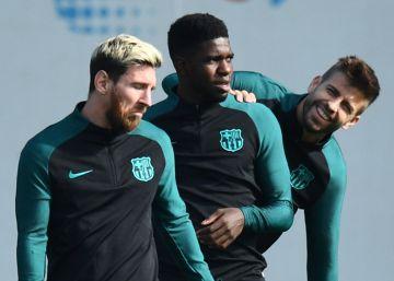 Umtiti, un guardaespaldas en la fiesta de Messi