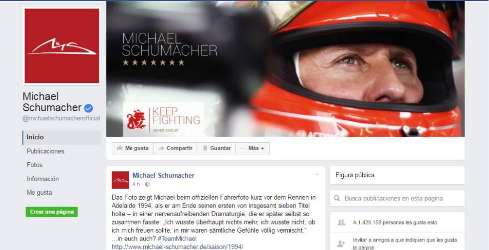 Imagen del nuevo sitio de Schumacher en Facebook.