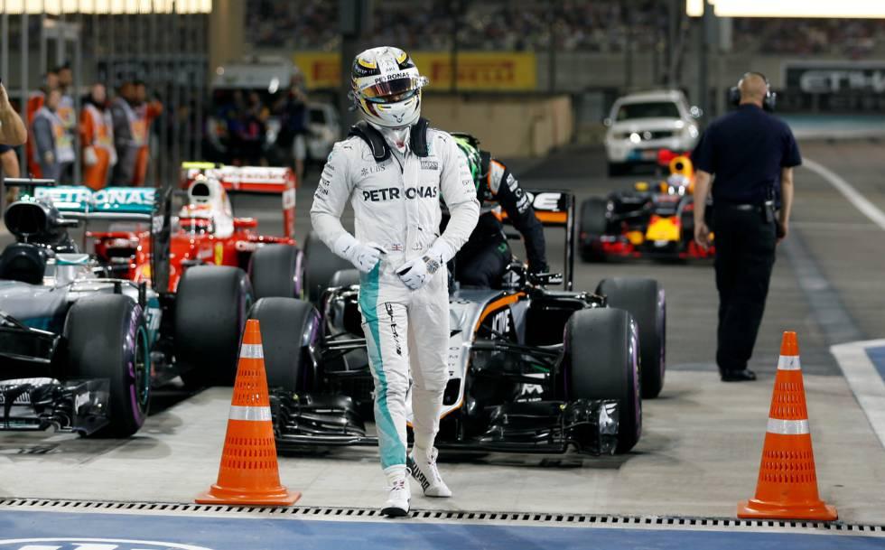 Hamilton, tras lograr la pole en Abu Dabi.