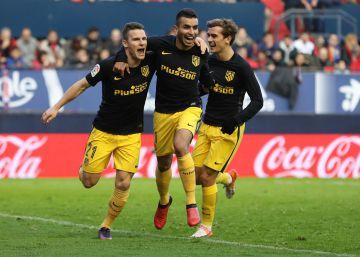 El Atlético derrota a Osasuna en dos minutos
