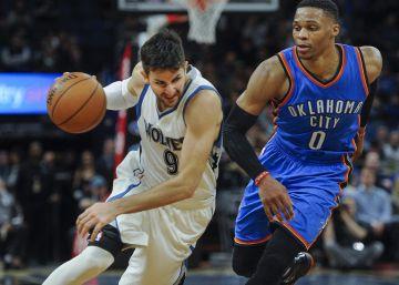 Ricky Rubio deslumbra ante Westbrook
