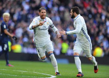 Dos goles de Ramos dan al Madrid una sufrida victoria frente al Málaga