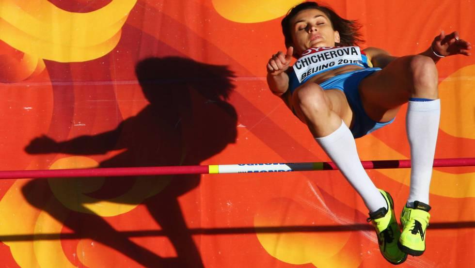 La saltadora rusa Anna Chicherova, en Pekín.