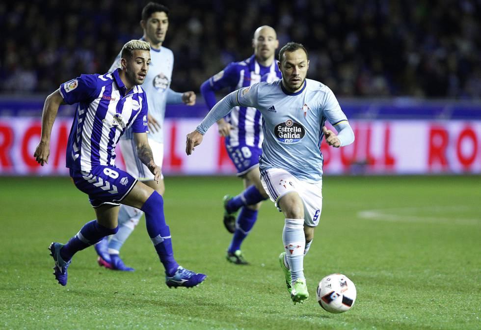 Chelo Díaz conduciendo el esférico. Análisis semifinal Copa del Rey Alavés Celta