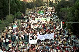 Vista general de la manifestación que ayer recorrió las calles de Murcia en demanda de un Segura limpio.