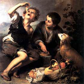 El cuadro Niños comiendo pastel, de Murillo, hacia 1675-1680 (Alte Pinakothek de Múnich).