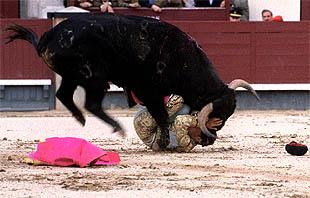 Tomás López sufre un revolcón sin consecuencias al torear de capa al segundo novillo.