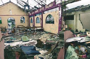 Imagen de la capilla destruida en la aldea colombiana de Bellavista donde murieron 117 civiles.