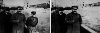 Stalin aparece en la primera imagen con un miembro del Ejército a su izquierda. Éste queda  eliminado  en la siguiente fotografía.