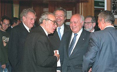 De izquierda a derecha: Fernando Álvarez de Miranda, Gregorio Peces-Barba, Luis de Grandes y Álvaro Lapuerta, ayer en el parador de Gredos.