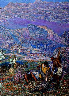 Uno de los óleos cervantinos de Antonio Muñoz Degrain.