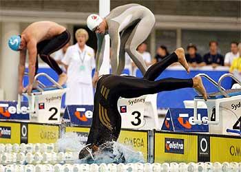 Thorpe cae al agua encogido tras salir antes de tiempo en la serie de los campeonatos nacionales.