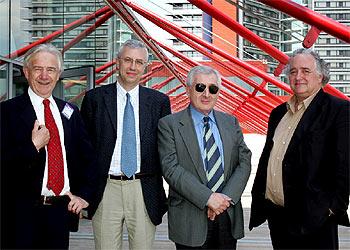 De izquierda a derecha, Anthony Close, José Manuel Sánchez Ron, Vincenzo Vitiello y Jorge Wagensberg.