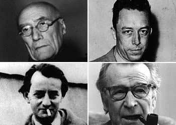 De izquierda a derecha, André Gide, Albert Camus,  André Malraux y Georges Simenon.
