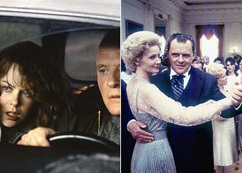 Hopkins, en el papel de Richard Nixon, a la izquierda, y, acompañado de Nicole Kidman, en  La mancha humana .
