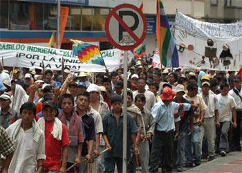Marcha indígena en Colombia