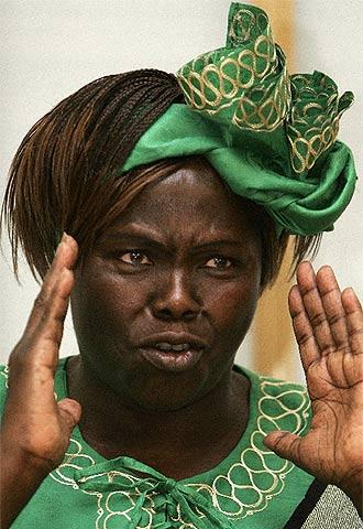 Wangari Maathai, premio Nobel de la Paz, ayer en Oslo.