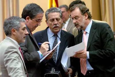 De izquierda a derecha, Gaspar Llamazares (IU), Joan Puig (ERC), Diego López Garrido y Álvaro Cuesta (PSOE).