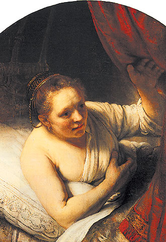 'Retrato de Hendrickje en el lecho' (1647), óleo de Rembrandt .