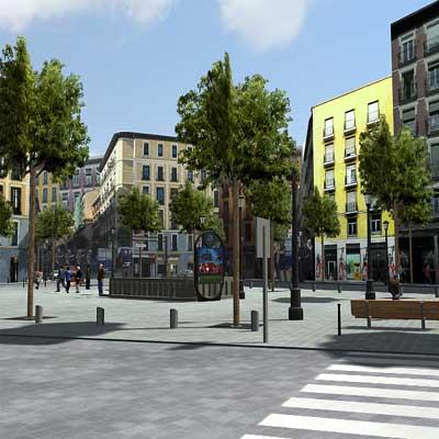 Obra del grupo Fiambrera Obrera que reconstruye el barrio madrileño de Lavapiés.