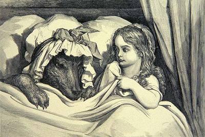 Detalle del grabado de Gustavo Doré sobre Caperucita Roja y el lobo.