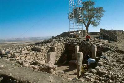 Cuatro de los pilares descubiertos en el yacimiento arqueológico de Göbekli Tepe (Turquía).