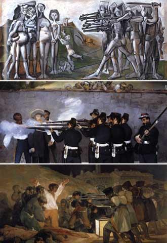 De arriba abajo: 'Masacre en Corea' (1951), de Picasso; 'La ejecución del emperador' (1868-1869), de Manet, y 'El 3 de mayo de 1808 en Madrid. Los fusilamientos en la montaña de Príncipe Pío' (1814), de Goya.