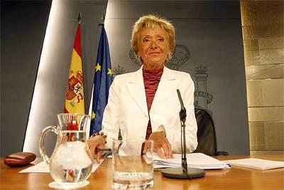 Fernández de la Vega, durante la comparecencia posterior al Consejo de Ministros.