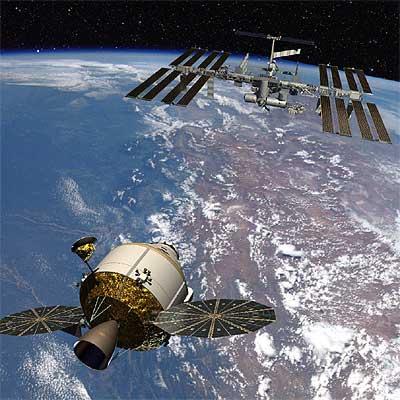 Representación de una nave Orión que se acerca a la Estación Espacial.