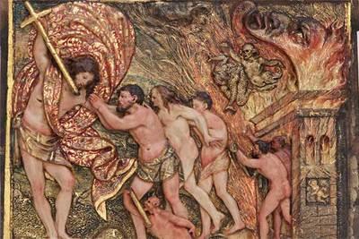 Representación del limbo en un retablo de Arnao de Bruselas, en la iglesia de Santa María de Palacio (Logroño).