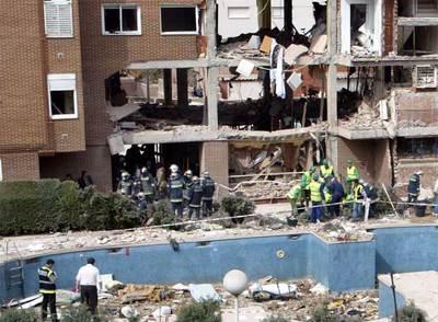 Estado en el que quedó el edificio de Leganés donde se suicidaron siete presuntos autores del 11-M.