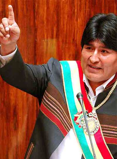 El presidente de Bolivia, Evo Morales, durante su intervención ayer ante el Congreso Nacional.