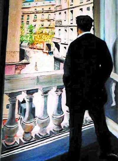 Joven en su ventana,  de G. Caillebotte, en una portada de  Corazón tan blanco.